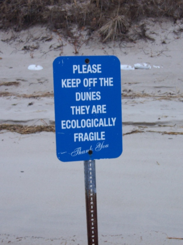 Sign on the northern end of Ferry Beach.