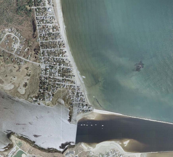 Aerial view of Camp Ellis Beach.  (US ARmy Corps of Engineers)