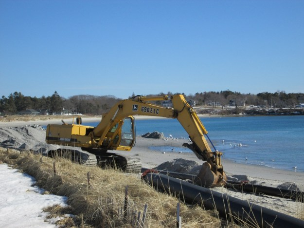 Beach nourishment in process.