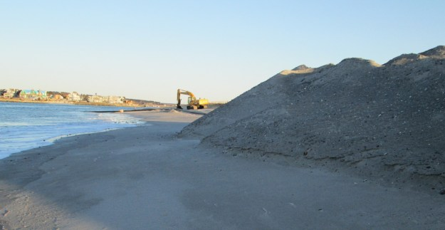 The sand pile at Western Beach as the dredge ended.
